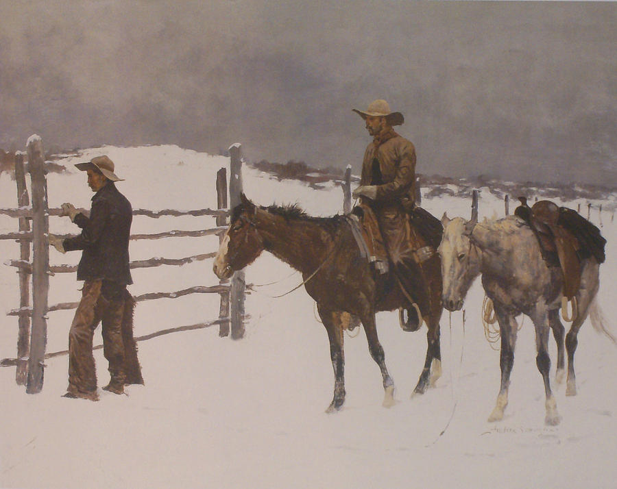Frederic Remington Digital Art - The Fall Of The Cowboy by Frederic Remington