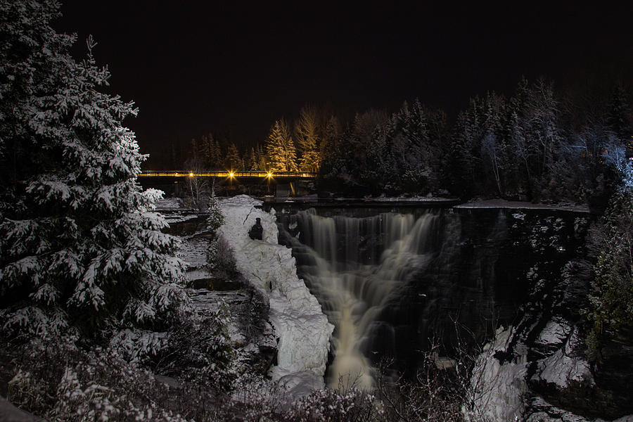 Kakabeka Falls Photograph - The Falls At Night by Linda Ryma