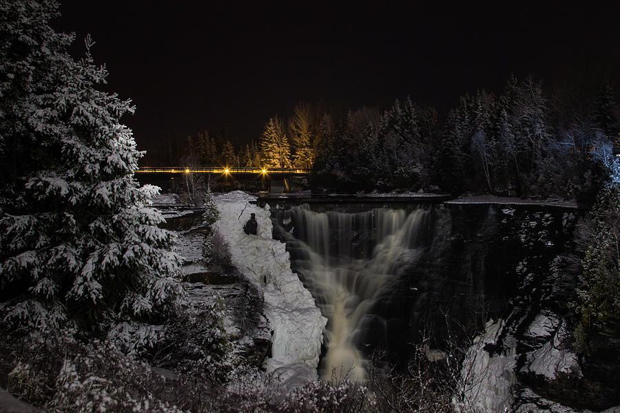 Kakabeka Falls Photograph - The Falls at Night by Linda Ryma