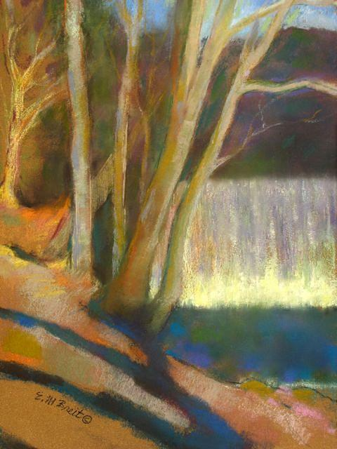 Landscape Painting - The Falls At Vickery Creek by Evelyn  M  Breit