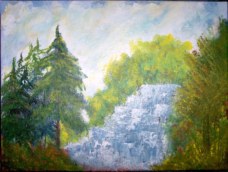 Waterfall Painting - The Falls by Eugene Coderre