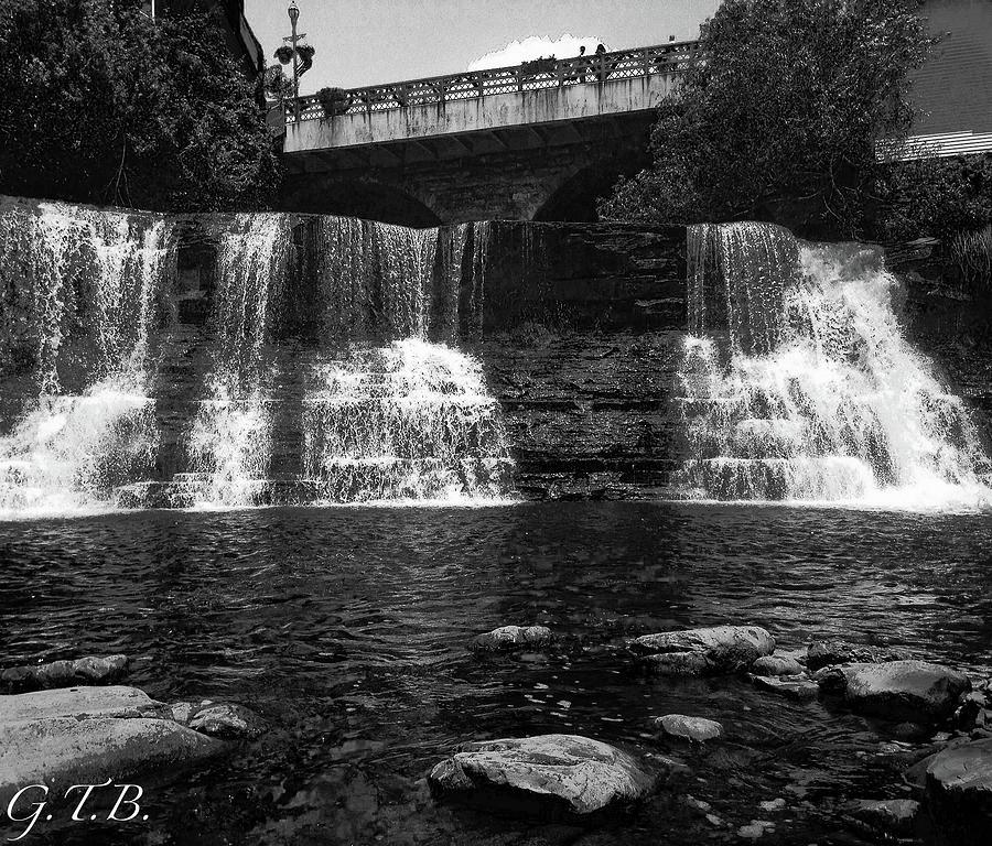 Waterfall Photograph - The Falls In Black And White by Garrett Blum