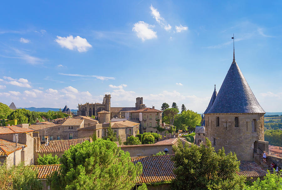 The famous medieval citadel La Cite in Carcassonne in France by Semmick Photo