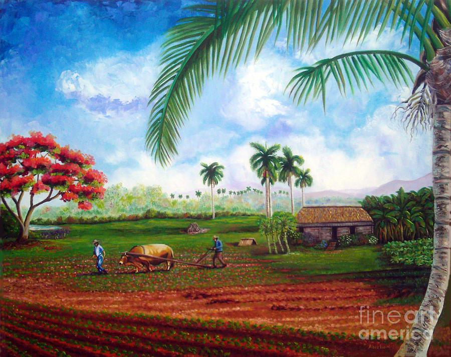 Cuban Landscape Painting - The farm by Jose Manuel Abraham