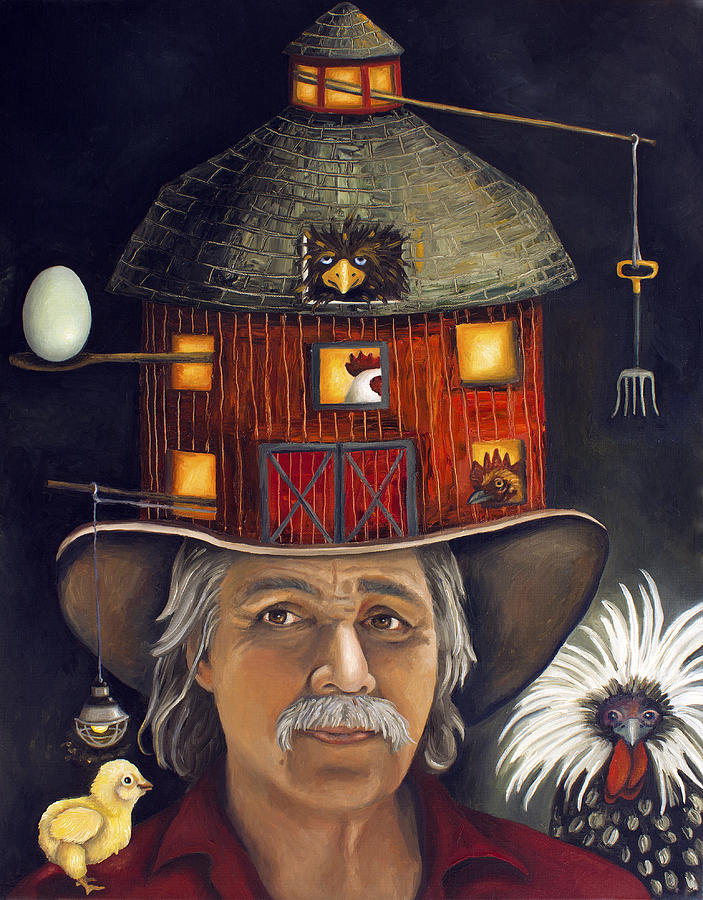 Rooster Painting - The Farmer by Leah Saulnier The Painting Maniac