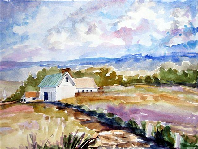 Landscape Painting - The Farmhouse by Debbie Peate