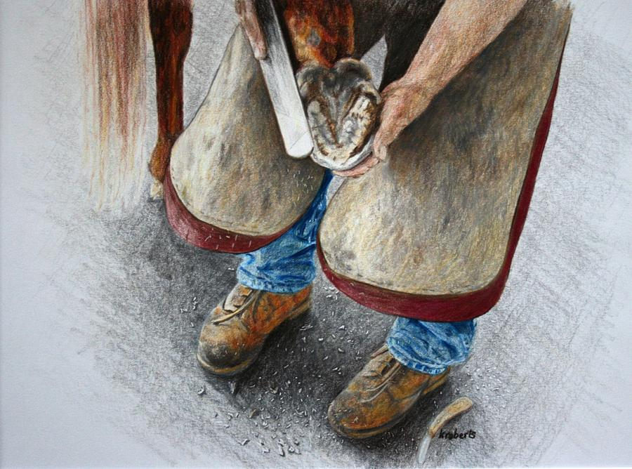 Farrier Drawing - The Farrier by Kathy Roberts