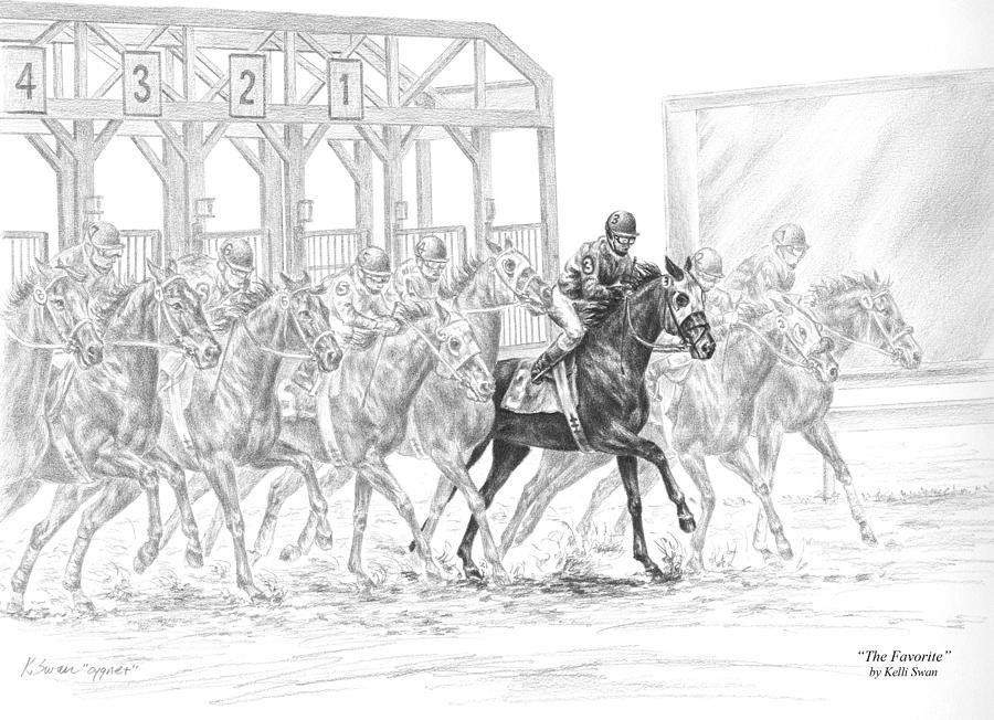 Tb Drawing - The Favorite - Horse Racing Art Print by Kelli Swan