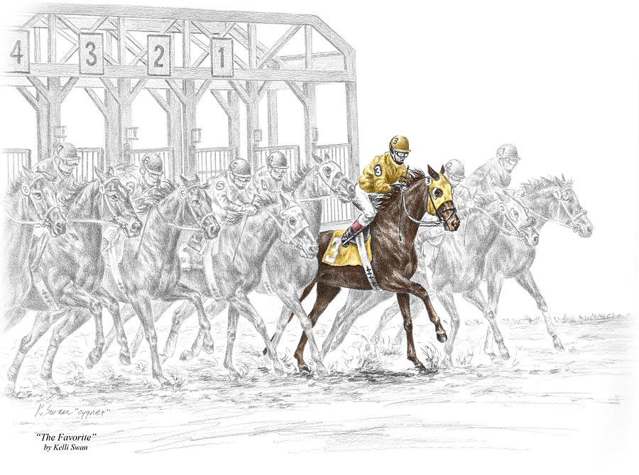 Tb Drawing - The Favorite - Thoroughbred Race Print Color Tinted by Kelli Swan