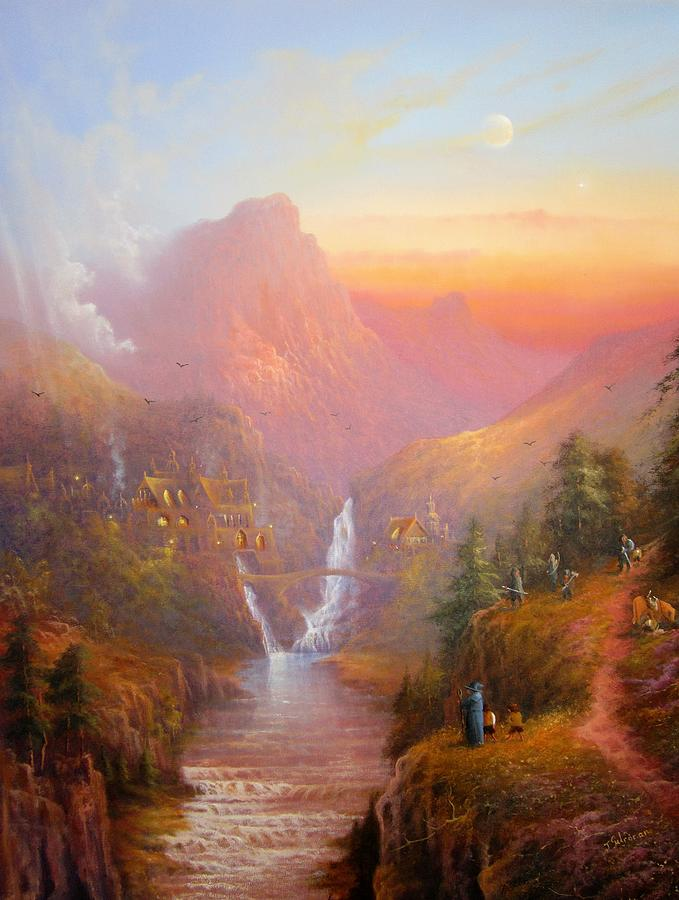 Rivendell Painting - Leaving Rivendell, Lord Of The Rings Inspired Artwork. From The Magical Realm by Ray Gilronan