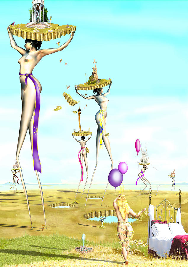 The Female Deity Sending Out Her Minions To Gather Male Religious Symbols One Digital Art by Leo Malboeuf
