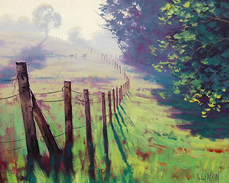 Farm Painting - The Fence Line by Graham Gercken