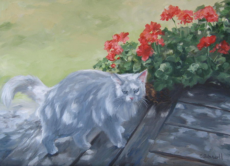 Cat Painting - A Feral Cloud by Connie Schaertl