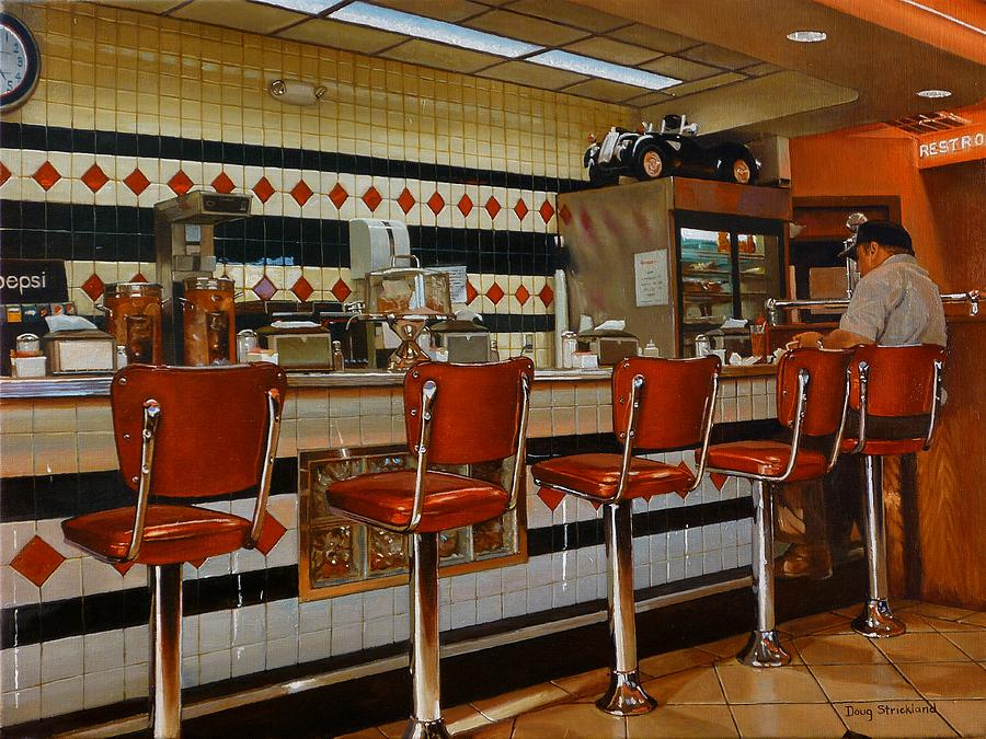 The fifties diner 2 painting by doug strickland for Diner artwork