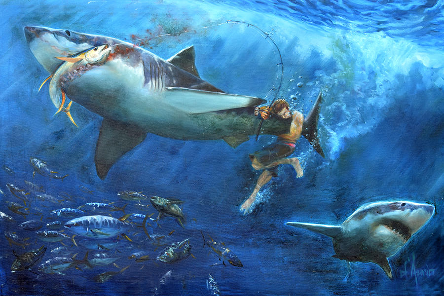 Great White Painting - The Fight by Tom Dauria