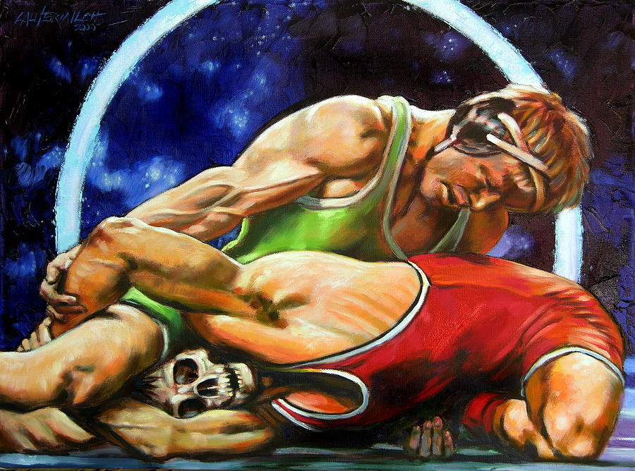 Wrestlers Painting - The Final Fight by John Lautermilch