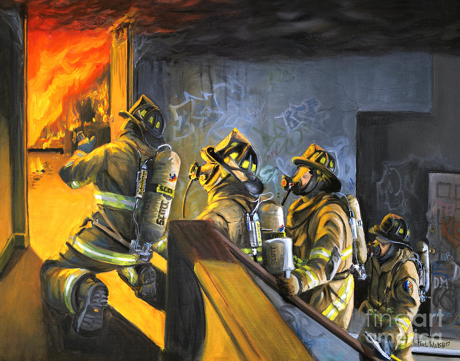Firefighters Painting - The Fire Floor by Paul Walsh