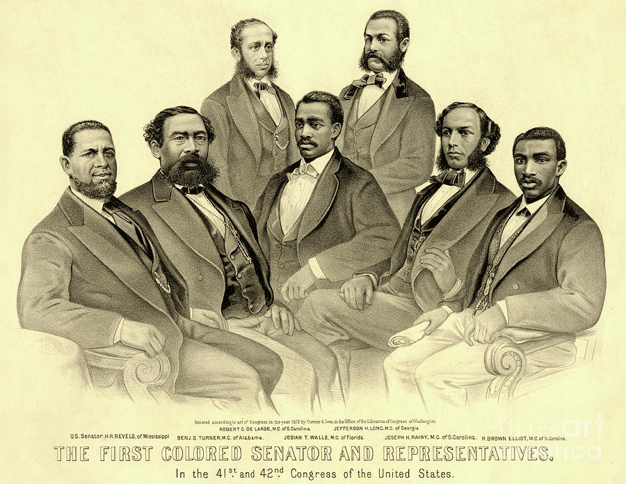 African American Drawing - The First African American Senator And Representatives by American School