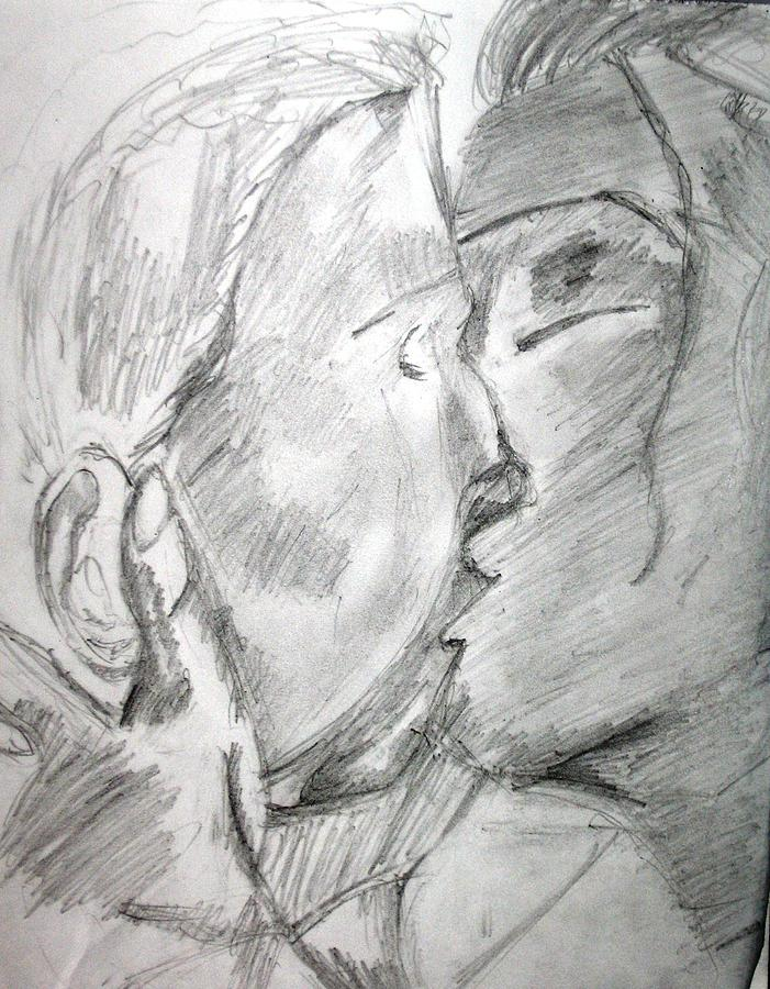 Romantic Painting - The First Kiss by Soumyadeep Nag