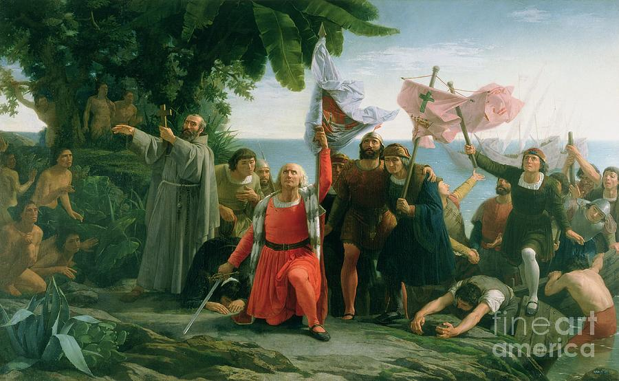 The first landing of christopher columbus painting by for Cuarto viaje de cristobal colon
