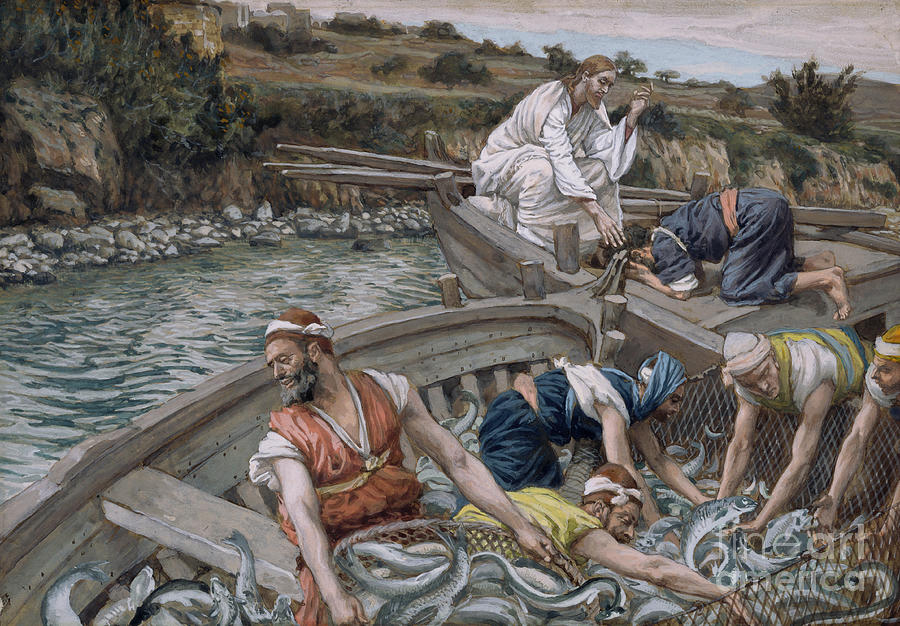 Eel Painting - The First Miraculous Draught Of Fish by Tissot