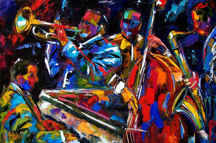 Jazz Painting - The First Set by Debra Hurd