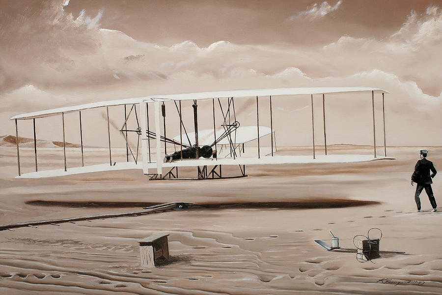 Wright Brothers Painting - The First To Fly by Kenneth Young