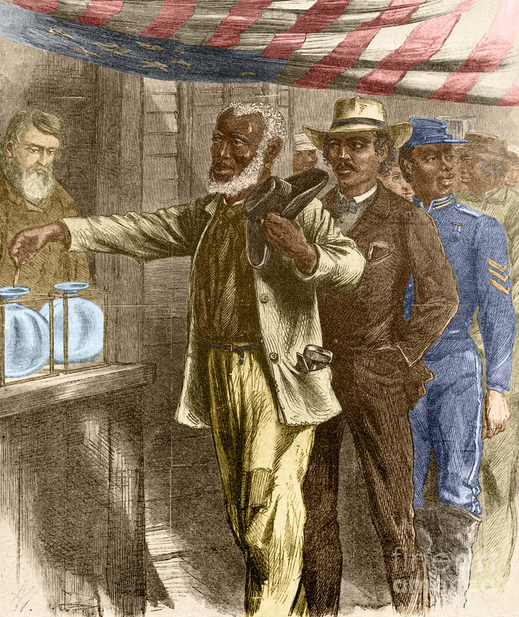 15th Amendment Photograph - The First Vote 1867 by Photo Researchers