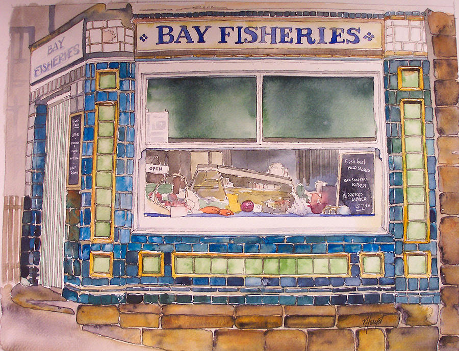 Fish And Chip Painting - The Fish And Chip Shop by Victoria Heryet