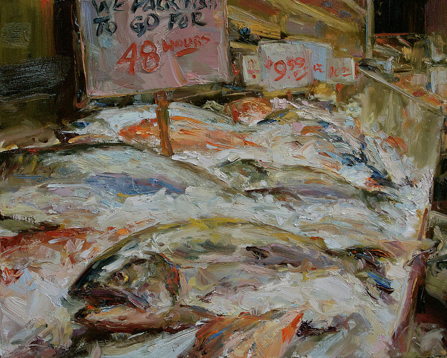 Fish Market Painting - The Fish Market by James Swanson