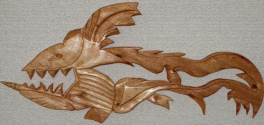 Extinct Fish Mixed Media - The Fish Skeleton by Robert Margetts
