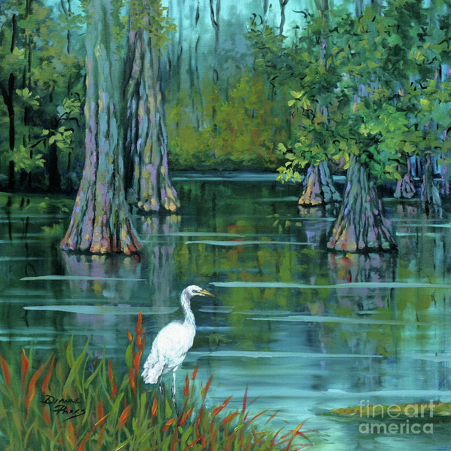 Louisiana Bayou Painting - The Fisherman by Dianne Parks