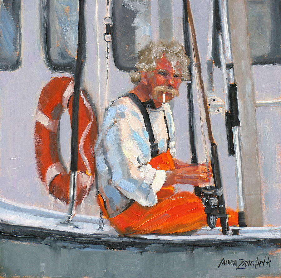 Fisherman Painting - The Fisherman by Laura Lee Zanghetti