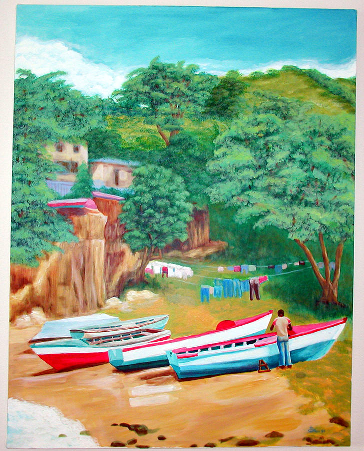 People Painting - The Fisherman by Tito Santiago