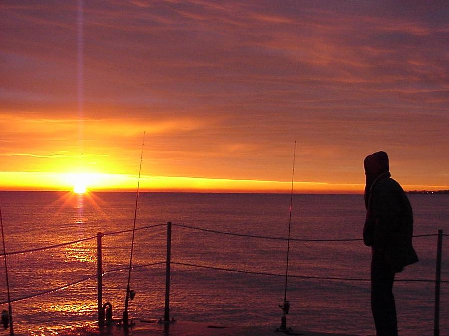 Sunrise Photograph - November 14. 2004 The Fishermans Sunrise Over Lake Michigan Winnetka by Darlene DeMille