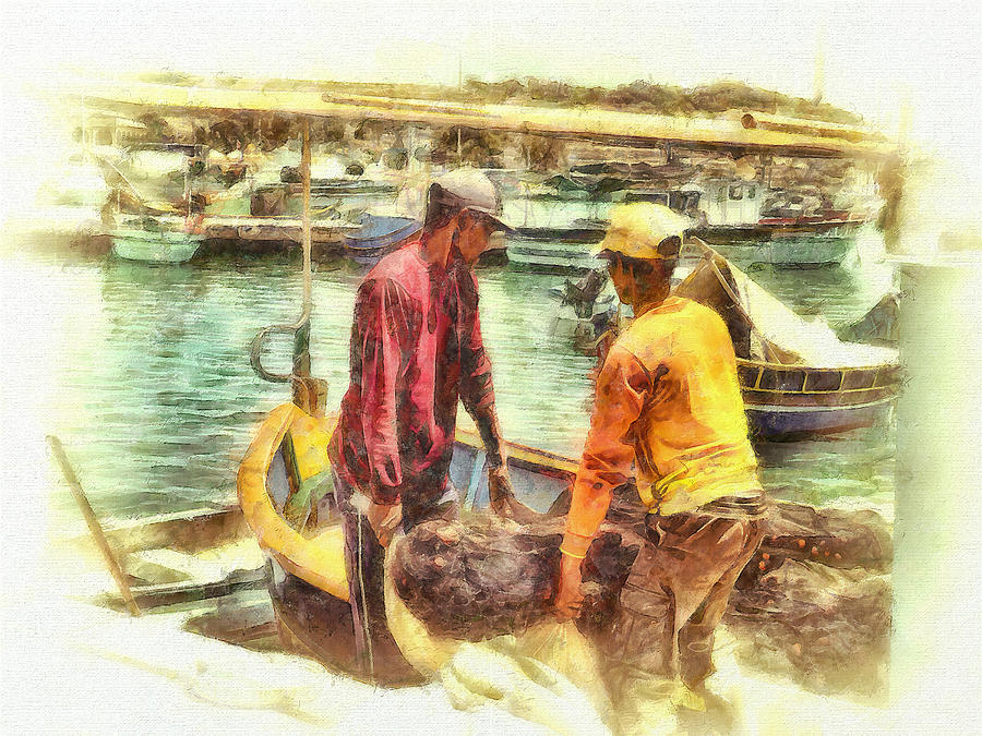 Fishermen Digital Art - The Fishermen by Leigh Kemp