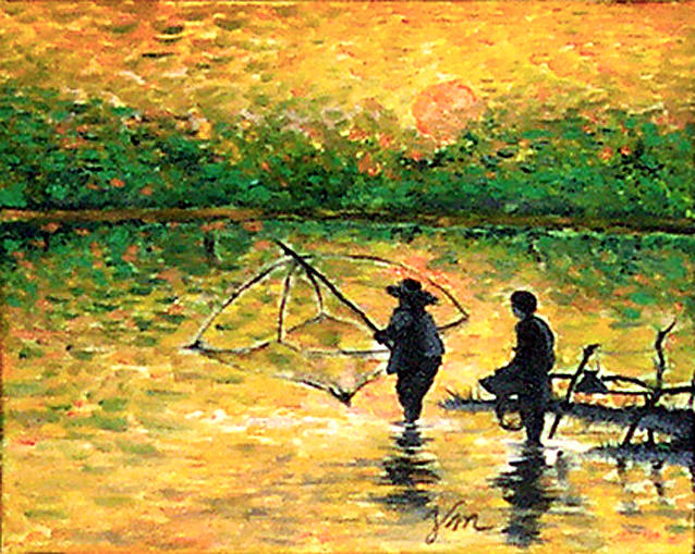 Lao Painting - The Fishermen by Vongduane Manivong
