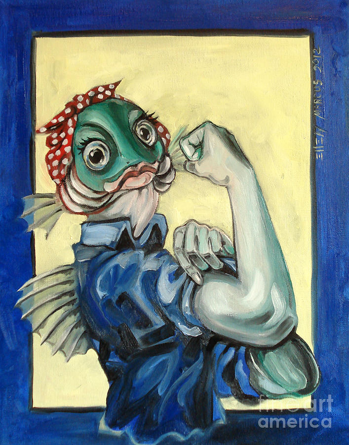 Satire Painting - The Fishes Can Do It by Ellen Marcus