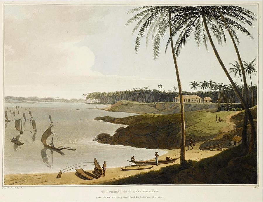 Daniell Drawing - The Fishing Cove Near Columbo by Samuel Daniell