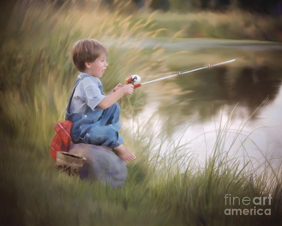 The fishing hole painting by bon and jim fillpot for Little boy fishing
