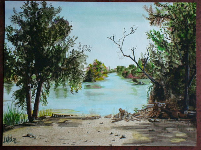 Landscape Painting - The fishing hole by Jorge Luis  Iniguez