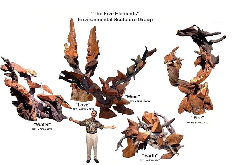 Environmental Sculptures Sculpture - The Five Elements Environmental Sculpture Group by Daryl Stokes