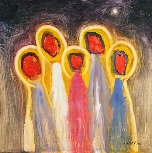 Abstract Painting - The Five Wise Virgins by Cornelis Monsma