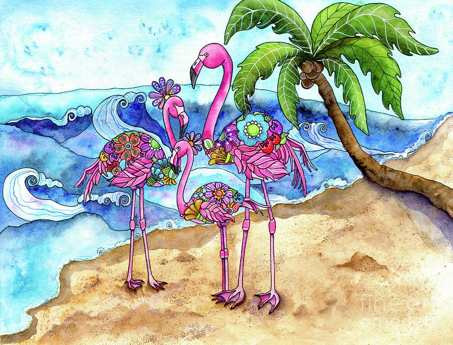 The Flamingo Family's Day at the Beach by Shelley Wallace Ylst