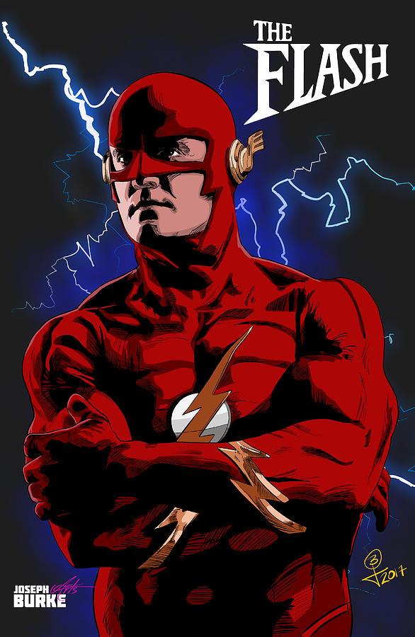 The Flash Digital Art - The Flash 1990 by Joseph Burke
