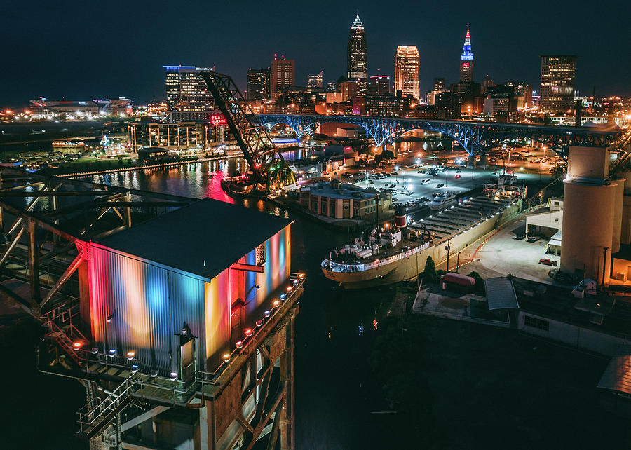 The Flats View Of Cleveland Ohio At Night Photograph By Jason Damman