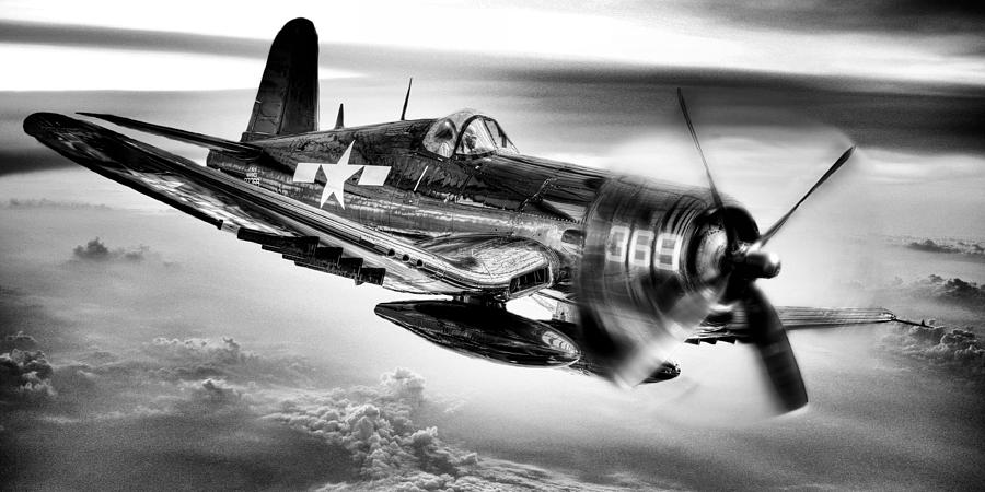Corsair Photograph - The Flight Home Bw by JC Findley