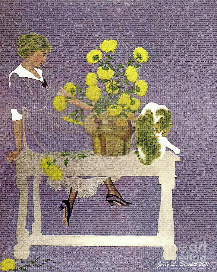 Flowers Mixed Media - The Florist by Jerry L Barrett