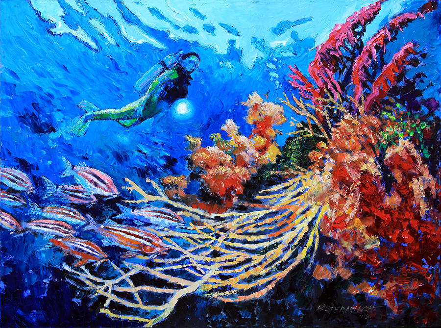 Scuba Diver Painting - The Flow of Creation by John Lautermilch