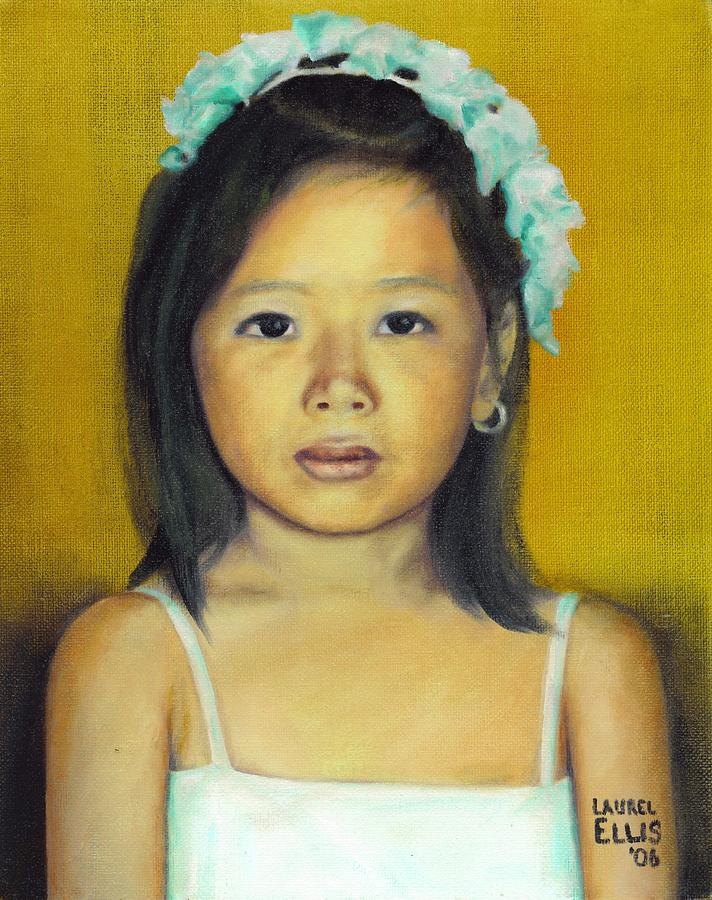 Portrait Painting - The Flower Girl by Laurel Ellis